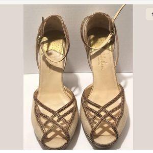 COLE HAAN Croc Leather Peep-toe Heels Sz 10B